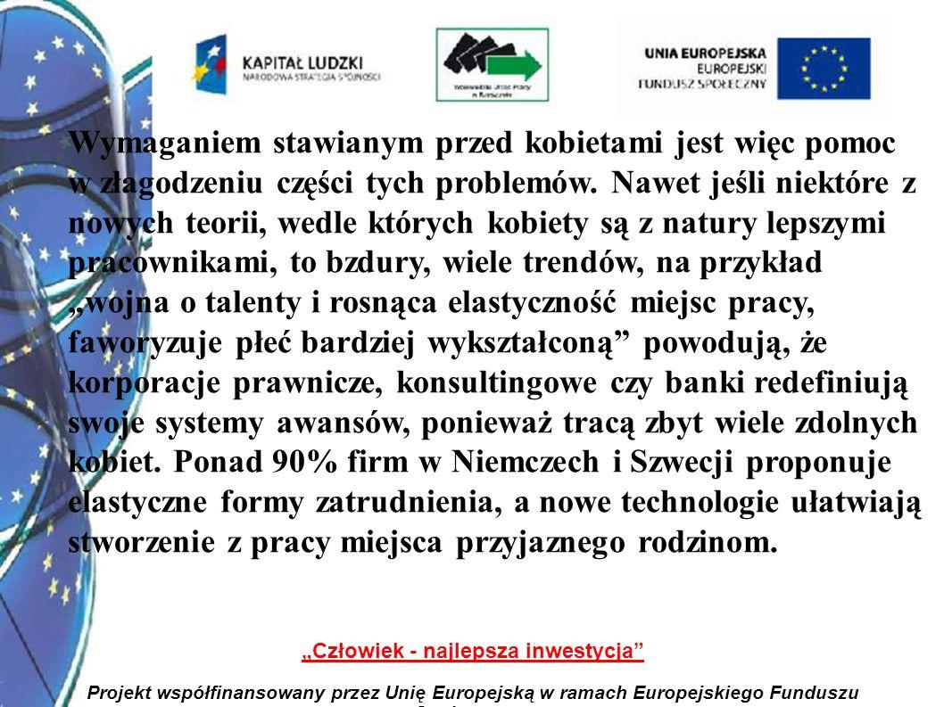 3 Człowiek - najlepsza inwestycja Projekt współfinansowany przez Unię Europejską w ramach Europejskiego Funduszu Społecznego Wymaganiem stawianym przed kobietami jest więc pomoc w złagodzeniu części tych problemów.