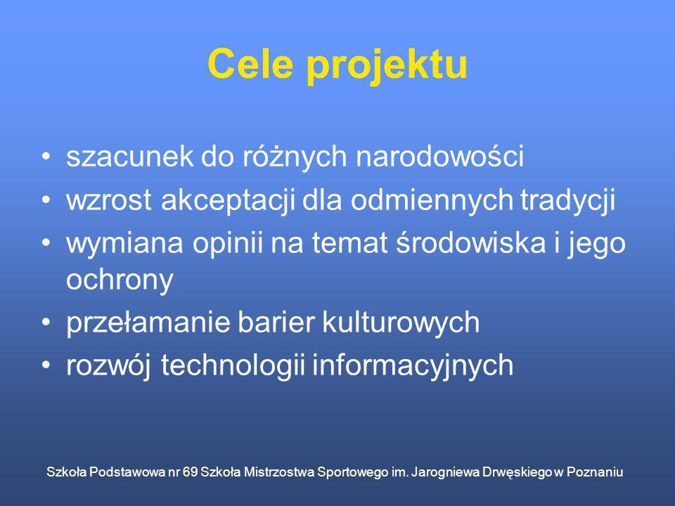 Szkoła Podstawowa nr 69 Szkoła Mistrzostwa Sportowego im. Jarogniewa Drwęskiego w Poznaniu Cele projektu szacunek do różnych narodowości wzrost akcept