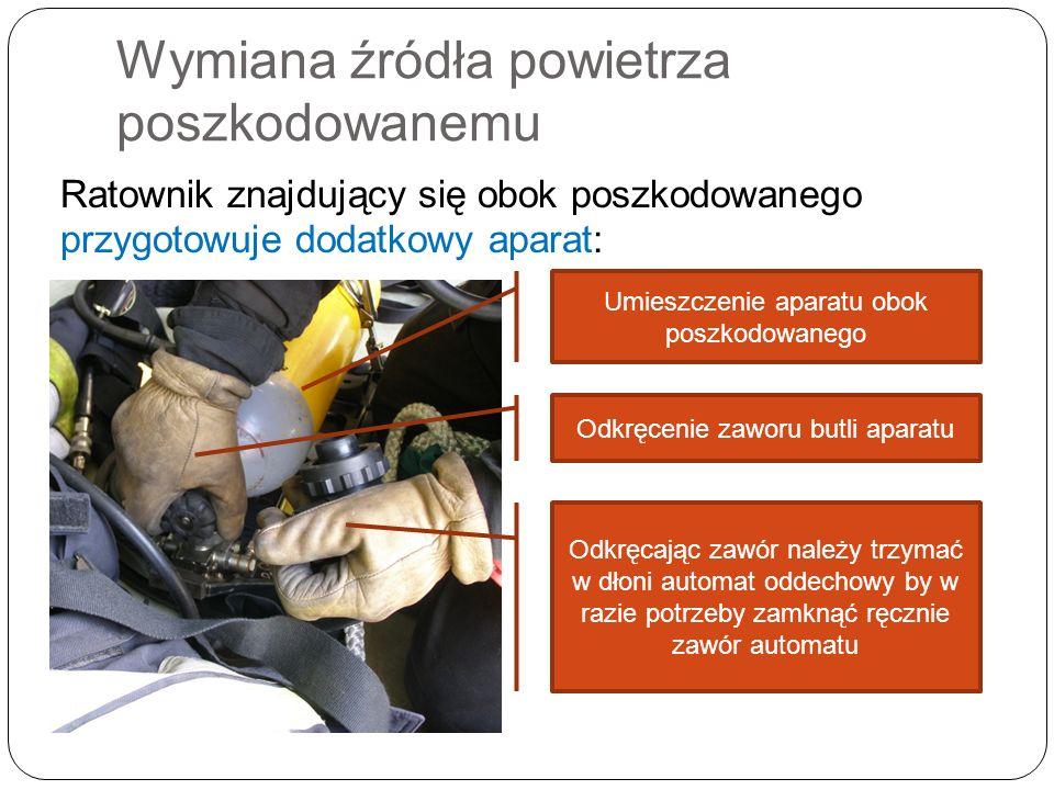Wymiana źródła powietrza poszkodowanemu Ratownik znajdujący się obok poszkodowanego przygotowuje dodatkowy aparat: Umieszczenie aparatu obok poszkodowanego Odkręcenie zaworu butli aparatu Odkręcając zawór należy trzymać w dłoni automat oddechowy by w razie potrzeby zamknąć ręcznie zawór automatu
