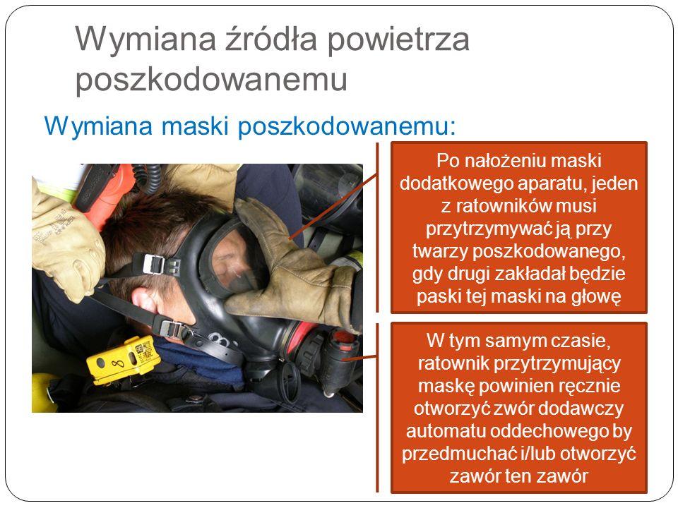 Wymiana źródła powietrza poszkodowanemu Wymiana maski poszkodowanemu: Po nałożeniu maski dodatkowego aparatu, jeden z ratowników musi przytrzymywać ją