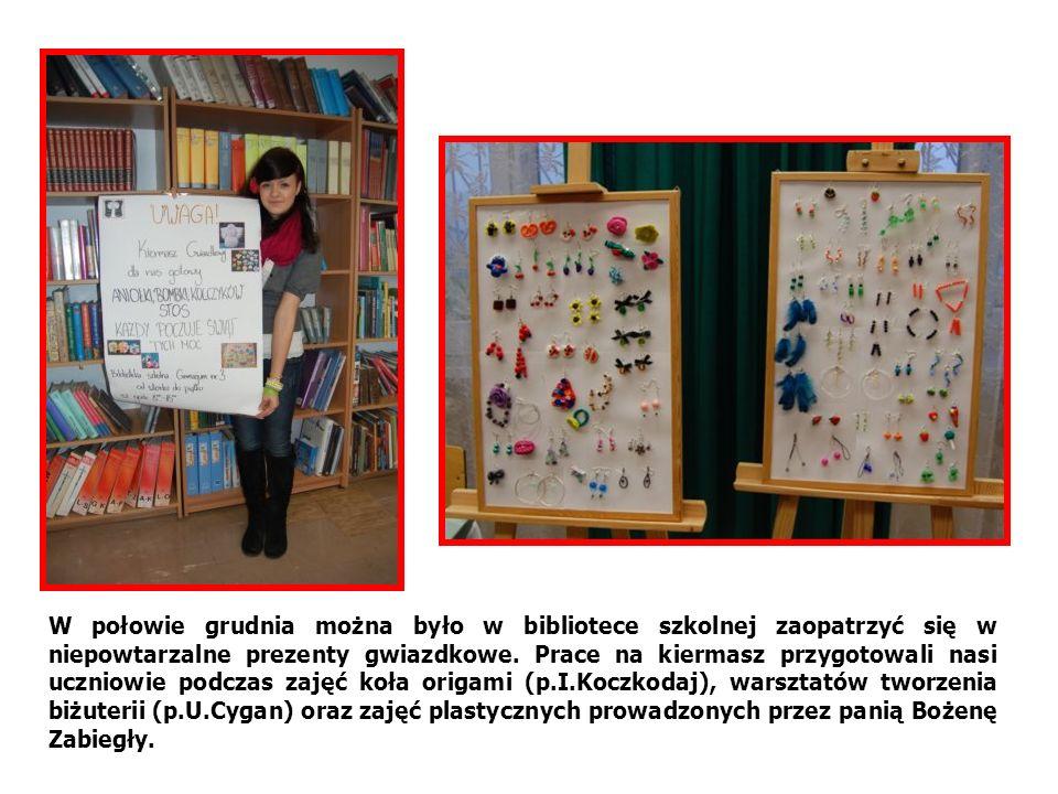 W połowie grudnia można było w bibliotece szkolnej zaopatrzyć się w niepowtarzalne prezenty gwiazdkowe. Prace na kiermasz przygotowali nasi uczniowie