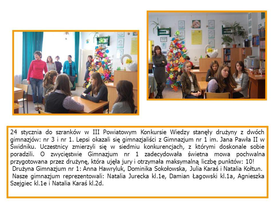 24 stycznia do szranków w III Powiatowym Konkursie Wiedzy stanęły drużyny z dwóch gimnazjów: nr 3 i nr 1. Lepsi okazali się gimnazjaliści z Gimnazjum