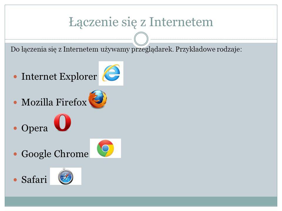 Łączenie się z Internetem Internet Explorer Mozilla Firefox Opera Google Chrome Safari Do łączenia się z Internetem używamy przeglądarek. Przykładowe