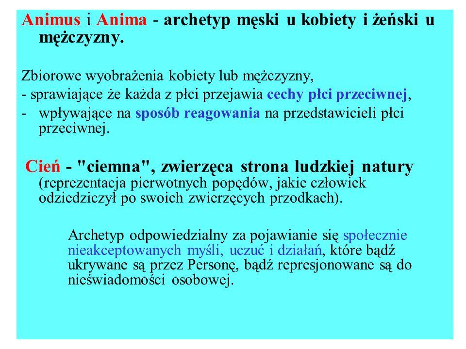 Animus i Anima - archetyp męski u kobiety i żeński u mężczyzny. Zbiorowe wyobrażenia kobiety lub mężczyzny, - sprawiające że każda z płci przejawia ce