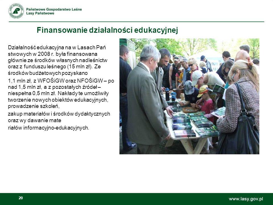 20 Finansowanie działalności edukacyjnej Działalność edukacyjna na w Lasach Pań stwowych w 2008 r. była finansowana głównie ze środków własnych nadleś
