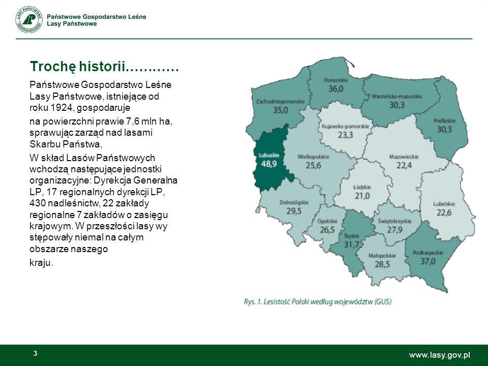 3 Trochę historii………… Państwowe Gospodarstwo Leśne Lasy Państwowe, istniejące od roku 1924, gospodaruje na powierzchni prawie 7,6 mln ha, sprawując za