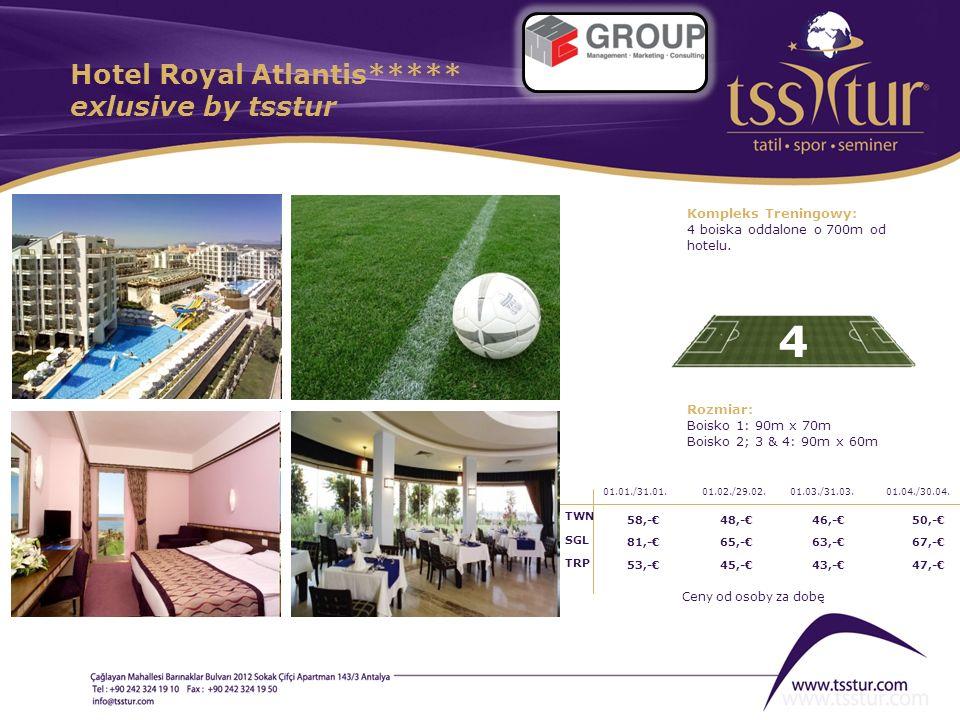 Hotel Royal Atlantis***** exlusive by tsstur 4 Kompleks Treningowy: 4 boiska oddalone o 700m od hotelu. Rozmiar: Boisko 1: 90m x 70m Boisko 2; 3 & 4: