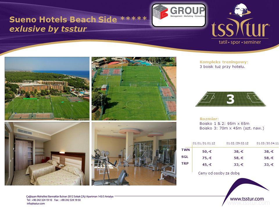 Sueno Hotels Beach Side ***** exlusive by tsstur 3 Kompleks treningowy: 3 boisk tuż przy hotelu. Rozmiar: Boisko 1 & 2: 95m x 65m Boisko 3: 70m x 45m
