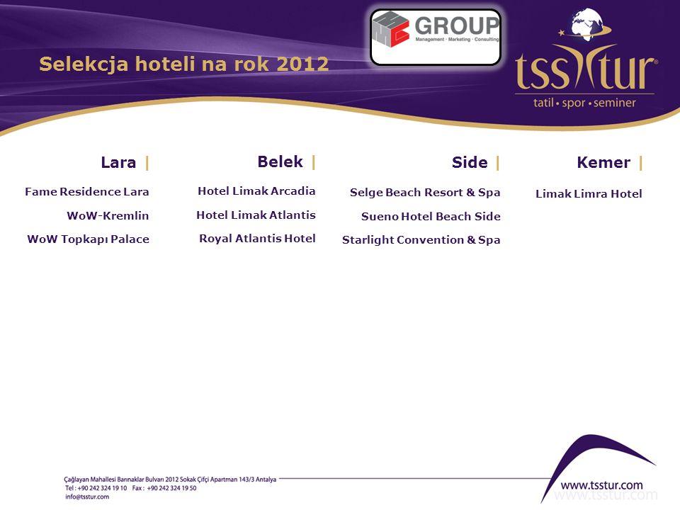 Lara | Fame Residence Lara WoW-Kremlin WoW Topkapı Palace Belek | Hotel Limak Arcadia Hotel Limak Atlantis Royal Atlantis Hotel Side | Selge Beach Res