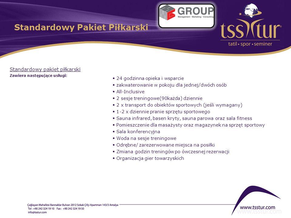 Standardowy Pakiet Piłkarski Standardowy pakiet piłkarski Zawiera następujące usługi: 24 godzinna opieka i wsparcie zakwaterowanie w pokoju dla jednej
