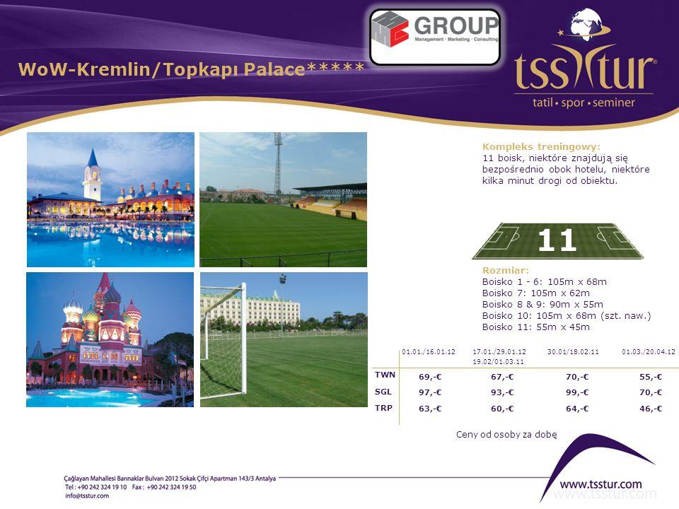 WoW-Kremlin/Topkapı Palace***** 11 Kompleks treningowy: 11 boisk, niektóre znajdują się bezpośrednio obok hotelu, niektóre kilka minut drogi od obiekt