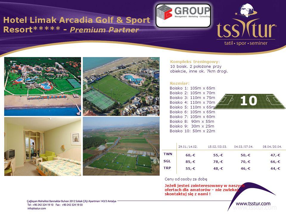 Hotel Limak Arcadia Golf & Sport Resort***** - Premium Partner 10 Kompleks treningowy: 10 boisk. 2 położone przy obiekcie, inne ok. 7km drogi. Rozmiar