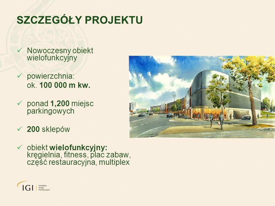 SZCZEGÓŁY PROJEKTU Nowoczesny obiekt wielofunkcyjny powierzchnia: ok. 100 000 m kw. ponad 1,200 miejsc parkingowych 200 sklepów obiekt wielofunkcyjny: