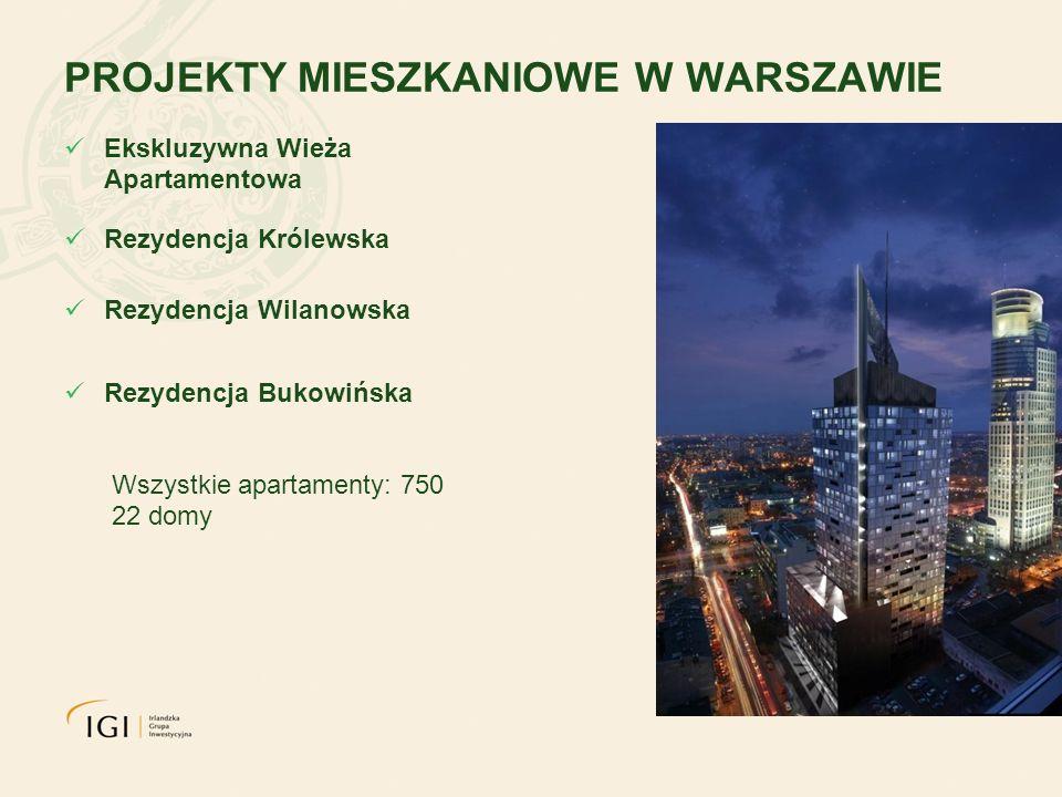 PROJEKTY MIESZKANIOWE W WARSZAWIE Ekskluzywna Wieża Apartamentowa Rezydencja Królewska Rezydencja Wilanowska Rezydencja Bukowińska Wszystkie apartamenty: 750 22 domy