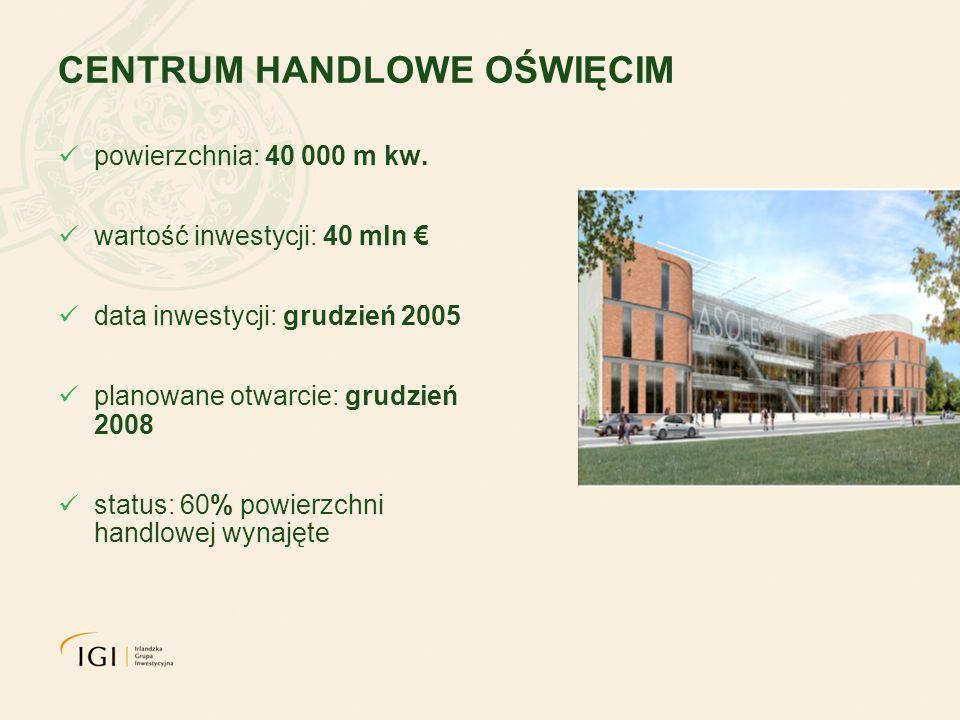 CENTRUM HANDLOWE OŚWIĘCIM powierzchnia: 40 000 m kw. wartość inwestycji: 40 mln data inwestycji: grudzień 2005 planowane otwarcie: grudzień 2008 statu