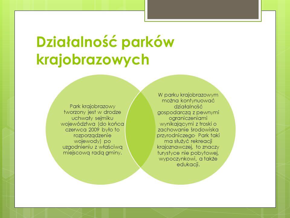 Działalność parków krajobrazowych Park krajobrazowy tworzony jest w drodze uchwały sejmiku województwa (do końca czerwca 2009 było to rozporządzenie w