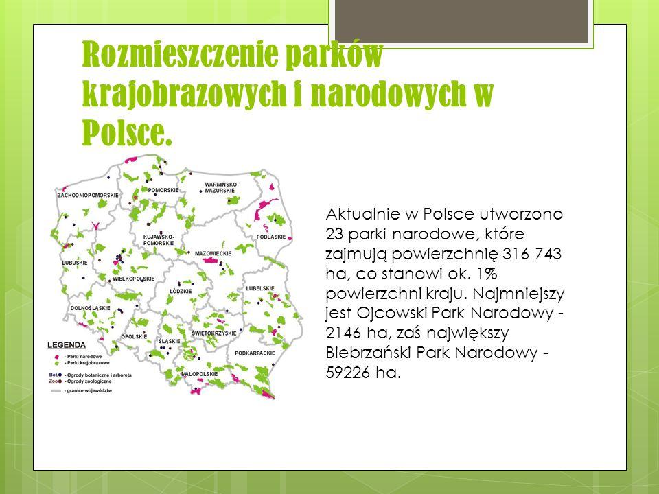 Rozmieszczenie parków krajobrazowych i narodowych w Polsce. Aktualnie w Polsce utworzono 23 parki narodowe, które zajmują powierzchnię 316 743 ha, co