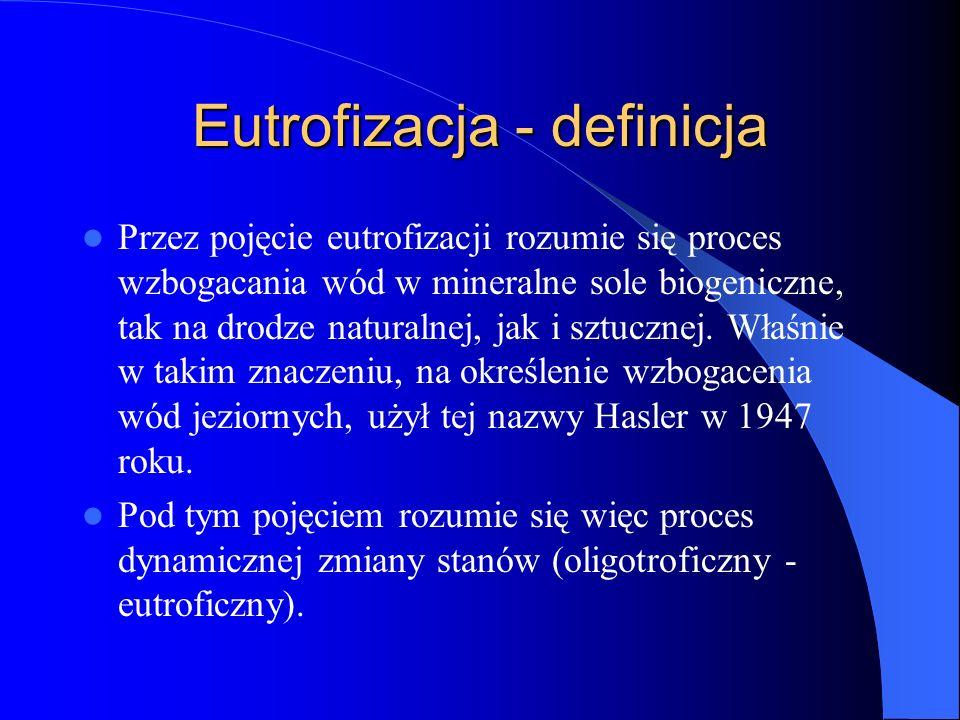 Eutrofizacja - definicja Przez pojęcie eutrofizacji rozumie się proces wzbogacania wód w mineralne sole biogeniczne, tak na drodze naturalnej, jak i sztucznej.