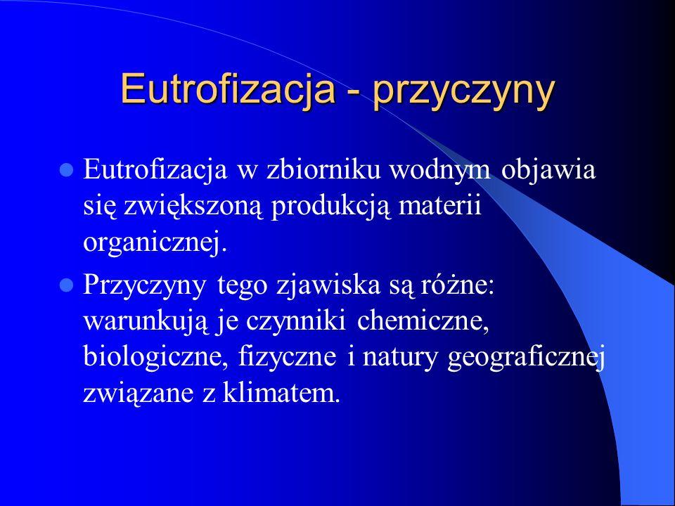 Eutrofizacja - przyczyny Eutrofizacja w zbiorniku wodnym objawia się zwiększoną produkcją materii organicznej.