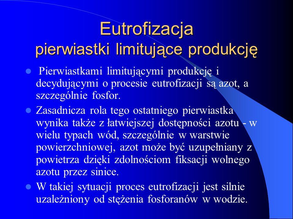 Eutrofizacja pierwiastki limitujące produkcję Pierwiastkami limitującymi produkcję i decydującymi o procesie eutrofizacji są azot, a szczególnie fosfor.