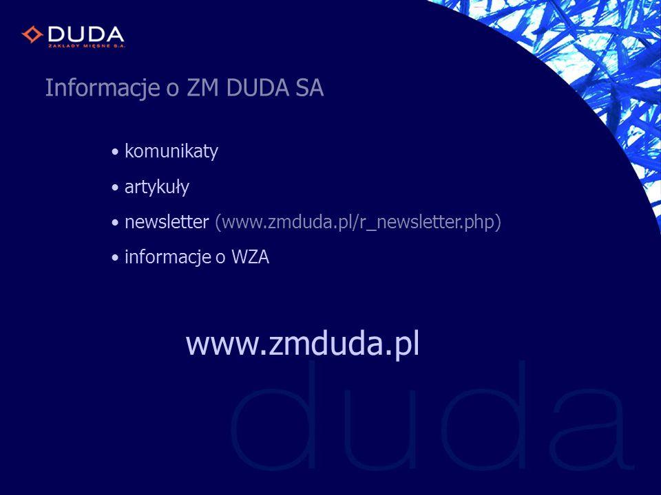 Informacje o ZM DUDA SA komunikaty artykuły newsletter (www.zmduda.pl/r_newsletter.php) informacje o WZA www.zmduda.pl