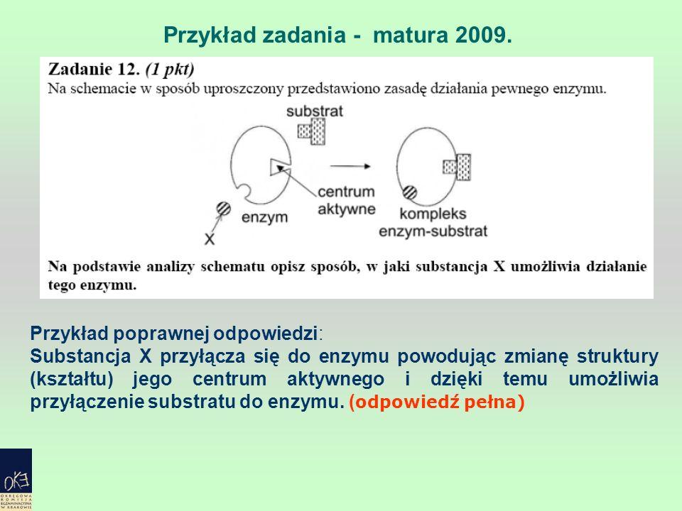 Przykład zadania - matura 2009. Przykład poprawnej odpowiedzi: Substancja X przyłącza się do enzymu powodując zmianę struktury (kształtu) jego centrum