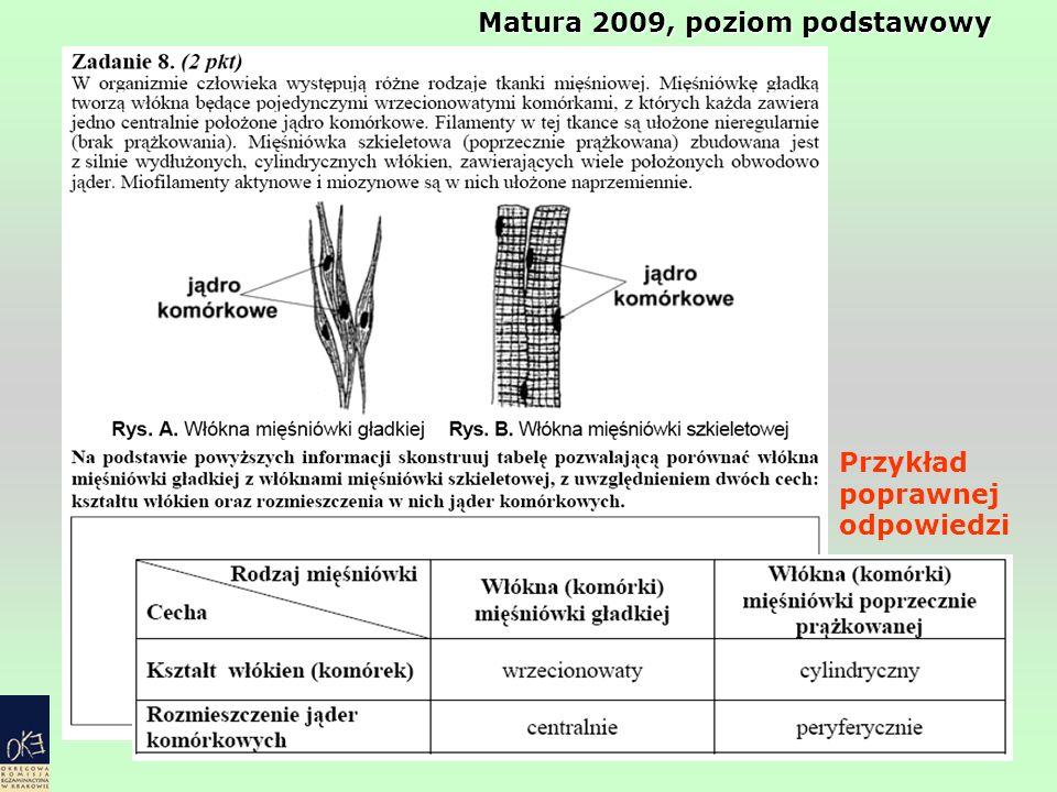 Przykład poprawnej odpowiedzi Matura 2009, poziom podstawowy