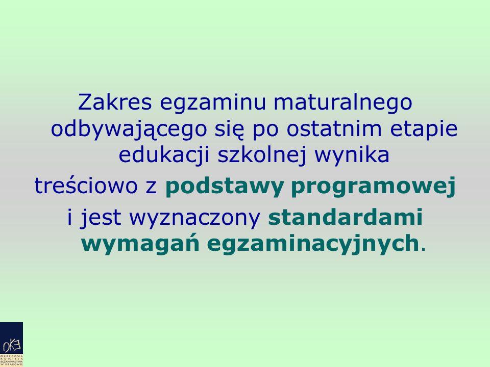 Zakres egzaminu maturalnego odbywającego się po ostatnim etapie edukacji szkolnej wynika treściowo z podstawy programowej i jest wyznaczony standardam