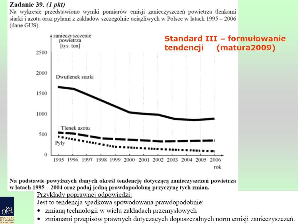 Standard III – formułowanie tendencji (matura2009)