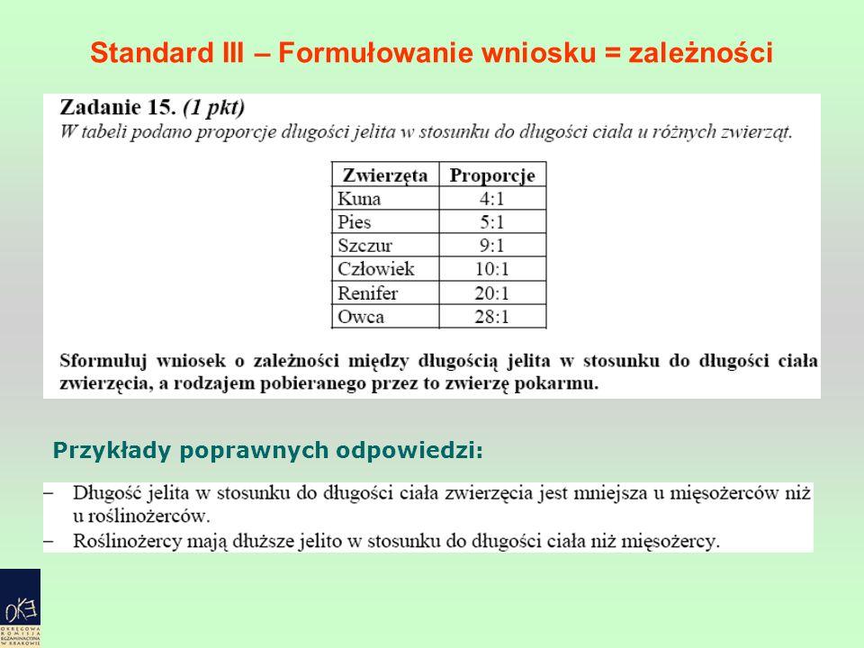 Standard III – Formułowanie wniosku = zależności Przykłady poprawnych odpowiedzi: