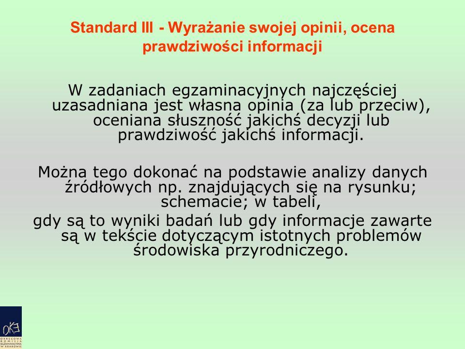 Standard III - Wyrażanie swojej opinii, ocena prawdziwości informacji W zadaniach egzaminacyjnych najczęściej uzasadniana jest własna opinia (za lub p