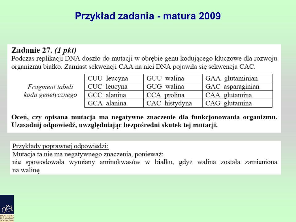 Przykład zadania - matura 2009