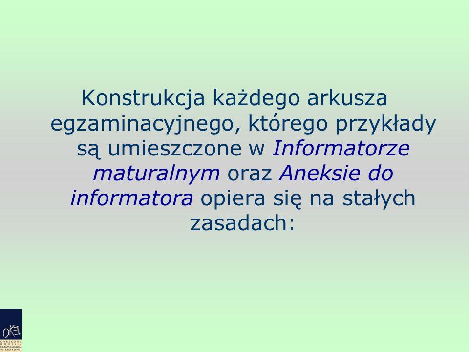 Konstrukcja każdego arkusza egzaminacyjnego, którego przykłady są umieszczone w Informatorze maturalnym oraz Aneksie do informatora opiera się na stał