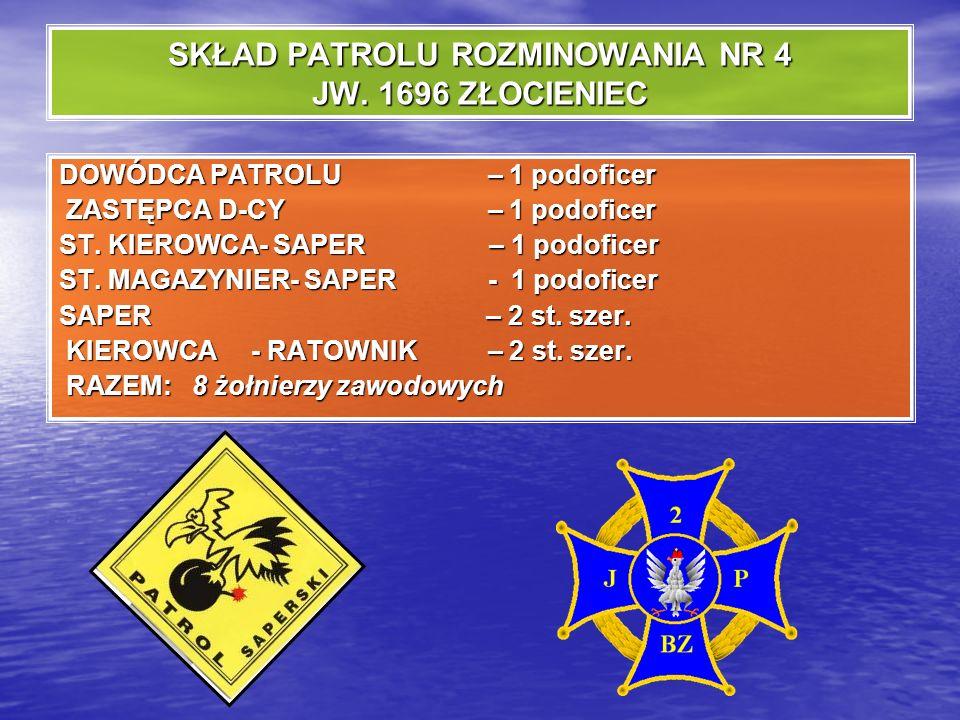 PATROL ROZMINOWANIA Specjalistyczny pododdział wojsk inżynieryjnych przeznaczony do rozpoznania, usuwania i niszczenia przedmiotów wybuchowych i niebe