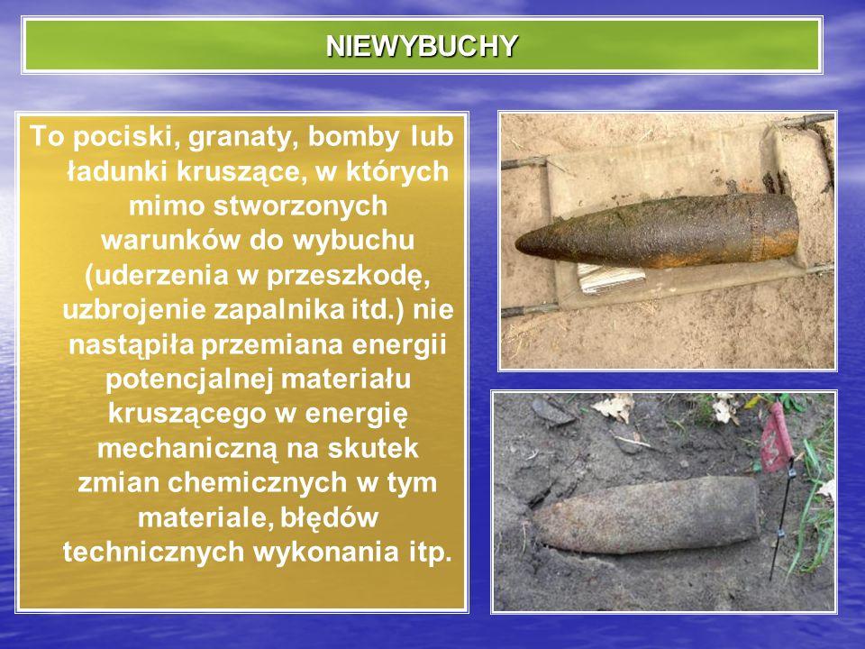 PRZEDMIOTY WYBUCHOWE Za przedmioty wybuchowe uważa się wszelkiego rodzaju przedmioty pochodzenia wojskowego, które ze względu na swoje właściwości wyb