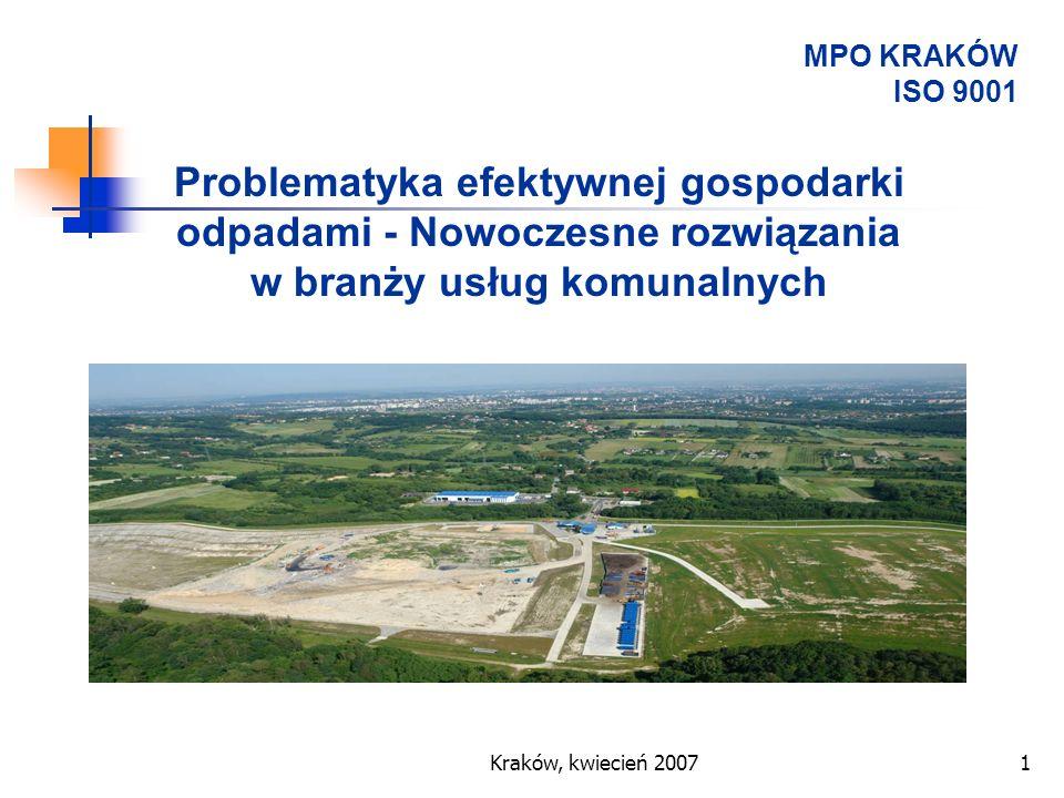 Kraków, kwiecień 20071 Problematyka efektywnej gospodarki odpadami - Nowoczesne rozwiązania w branży usług komunalnych MPO KRAKÓW ISO 9001