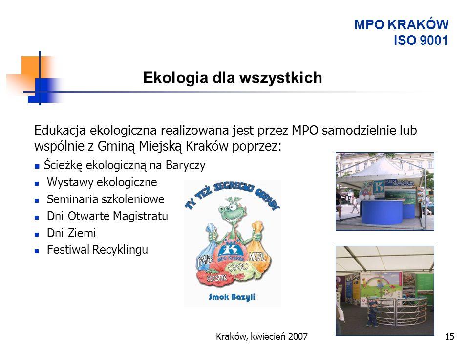 Kraków, kwiecień 200715 Ekologia dla wszystkich Edukacja ekologiczna realizowana jest przez MPO samodzielnie lub wspólnie z Gminą Miejską Kraków poprz