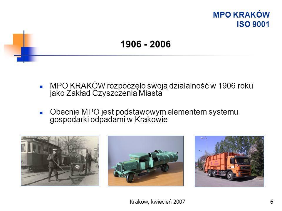 Kraków, kwiecień 20076 MPO KRAKÓW rozpoczęło swoją działalność w 1906 roku jako Zakład Czyszczenia Miasta Obecnie MPO jest podstawowym elementem syste