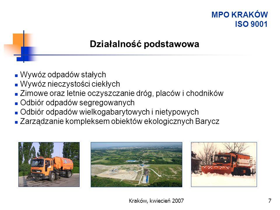 Kraków, kwiecień 20077 MPO KRAKÓW ISO 9001 Wywóz odpadów stałych Wywóz nieczystości ciekłych Zimowe oraz letnie oczyszczanie dróg, placów i chodników