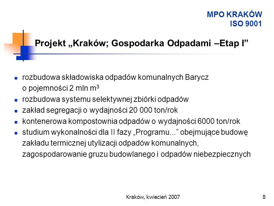 Kraków, kwiecień 20078 rozbudowa składowiska odpadów komunalnych Barycz o pojemności 2 mln m 3 rozbudowa systemu selektywnej zbiórki odpadów zakład se