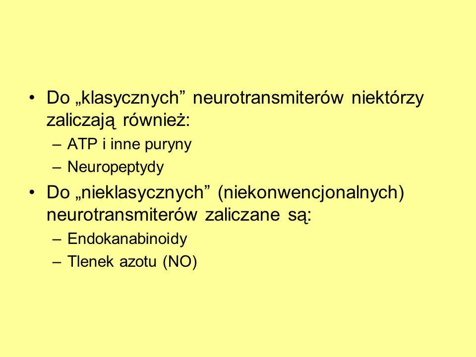 Do klasycznych neurotransmiterów niektórzy zaliczają również: –ATP i inne puryny –Neuropeptydy Do nieklasycznych (niekonwencjonalnych) neurotransmiterów zaliczane są: –Endokanabinoidy –Tlenek azotu (NO)