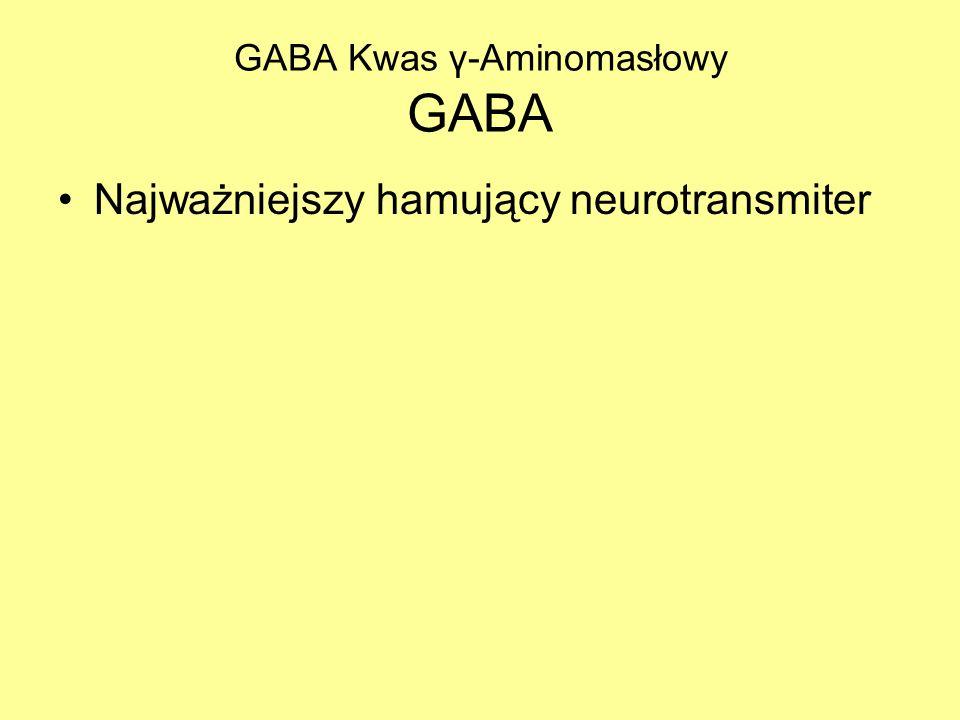 GABA Kwas γ-Aminomasłowy GABA Najważniejszy hamujący neurotransmiter