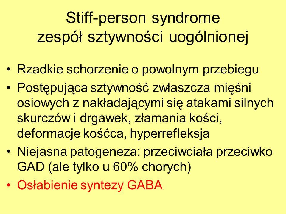 Stiff-person syndrome zespół sztywności uogólnionej Rzadkie schorzenie o powolnym przebiegu Postępująca sztywność zwłaszcza mięśni osiowych z nakładającymi się atakami silnych skurczów i drgawek, złamania kości, deformacje kośćca, hyperrefleksja Niejasna patogeneza: przeciwciała przeciwko GAD (ale tylko u 60% chorych) Osłabienie syntezy GABA