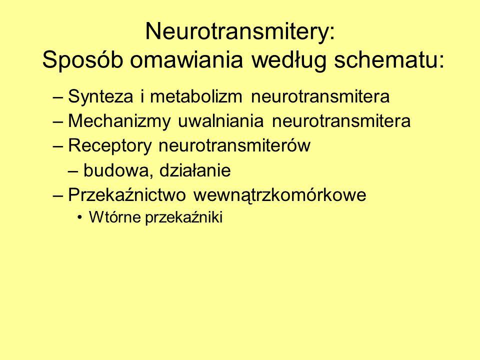 Neurotransmitery: Sposób omawiania według schematu: –Synteza i metabolizm neurotransmitera –Mechanizmy uwalniania neurotransmitera –Receptory neurotransmiterów – budowa, działanie –Przekaźnictwo wewnątrzkomórkowe Wtórne przekaźniki