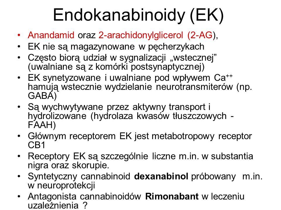 Endokanabinoidy (EK) Anandamid oraz 2-arachidonylglicerol (2-AG), EK nie są magazynowane w pęcherzykach Często biorą udział w sygnalizacji wstecznej (uwalniane są z komórki postsynaptycznej) EK synetyzowane i uwalniane pod wpływem Ca ++ hamują wstecznie wydzielanie neurotransmiterów (np.