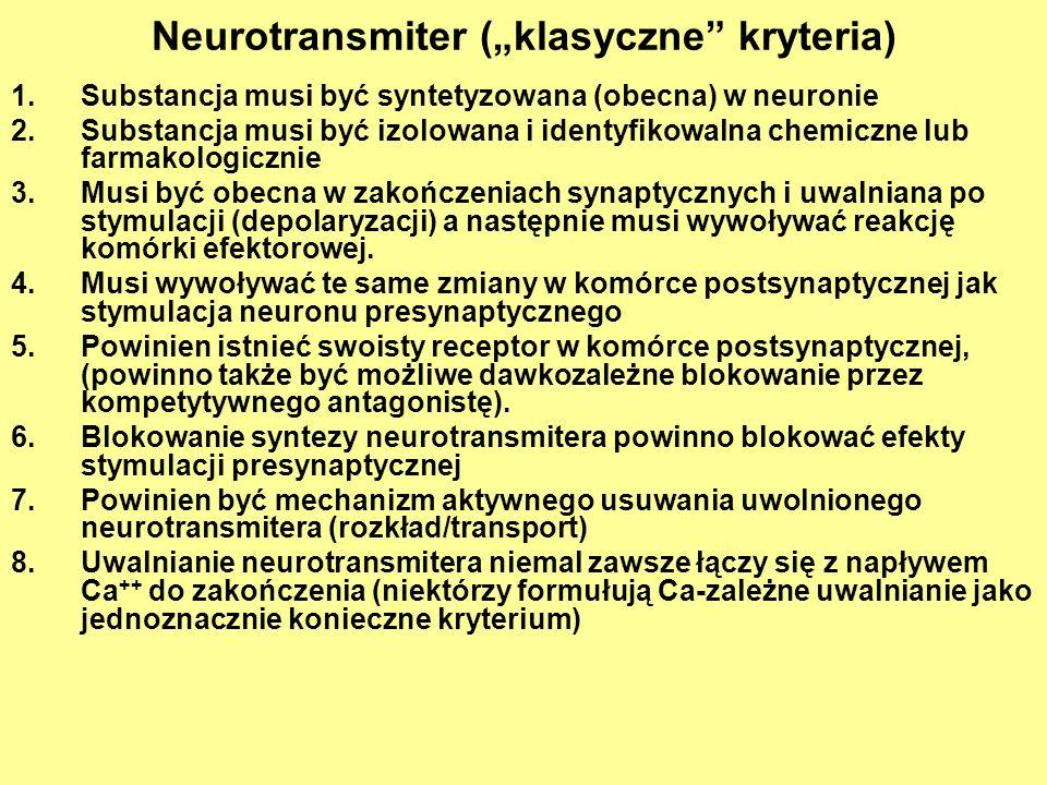 Neurotransmiter (klasyczne kryteria) 1.Substancja musi być syntetyzowana (obecna) w neuronie 2.Substancja musi być izolowana i identyfikowalna chemiczne lub farmakologicznie 3.Musi być obecna w zakończeniach synaptycznych i uwalniana po stymulacji (depolaryzacji) a następnie musi wywoływać reakcję komórki efektorowej.