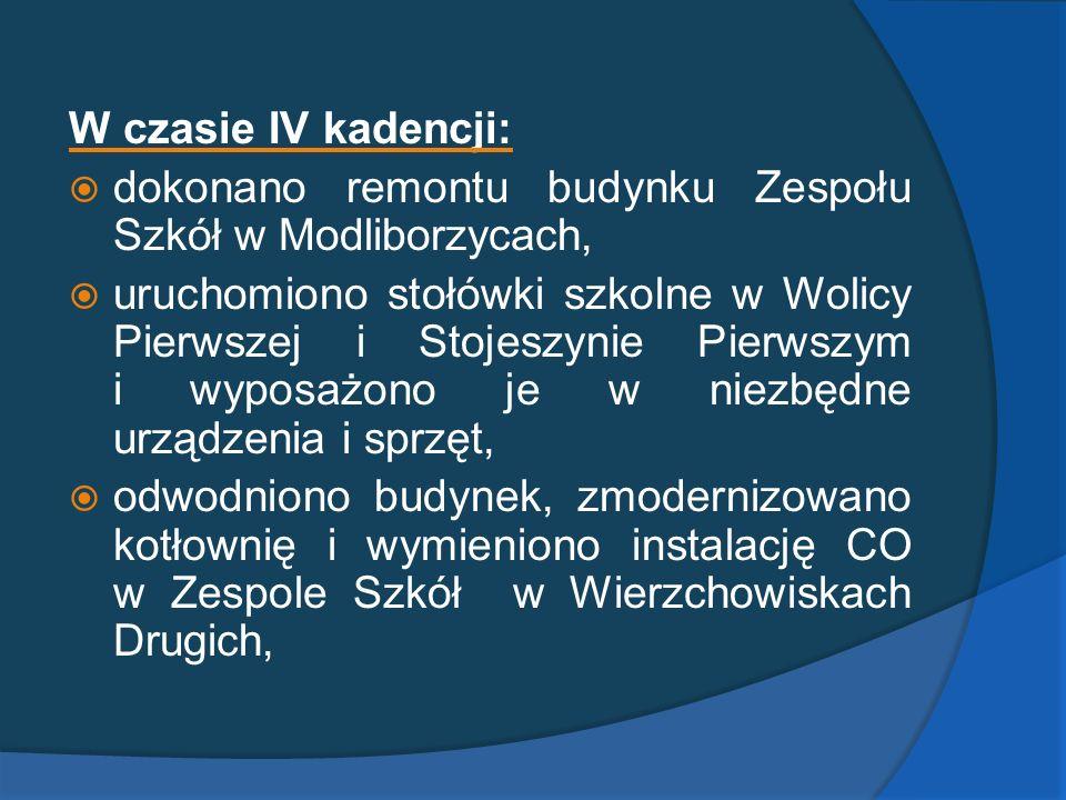W czasie IV kadencji: dokonano remontu budynku Zespołu Szkół w Modliborzycach, uruchomiono stołówki szkolne w Wolicy Pierwszej i Stojeszynie Pierwszym