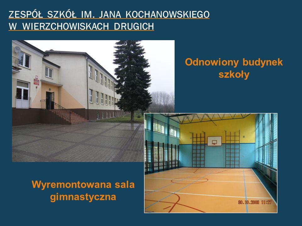 ZESPÓŁ SZKÓŁ IM. JANA KOCHANOWSKIEGO W WIERZCHOWISKACH DRUGICH Odnowiony budynek szkoły Wyremontowana sala gimnastyczna