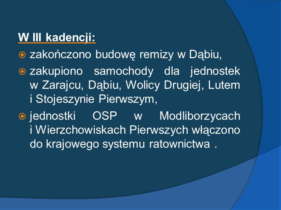 W III kadencji: zakończono budowę remizy w Dąbiu, zakupiono samochody dla jednostek w Zarajcu, Dąbiu, Wolicy Drugiej, Lutem i Stojeszynie Pierwszym, j
