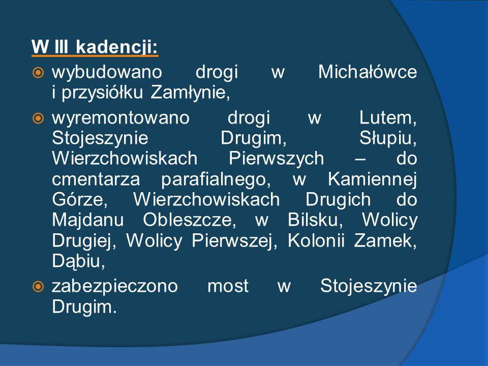 W III kadencji: wybudowano drogi w Michałówce i przysiółku Zamłynie, wyremontowano drogi w Lutem, Stojeszynie Drugim, Słupiu, Wierzchowiskach Pierwszy